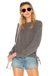 Lna Heathered Cinched Sweatshirt Gray