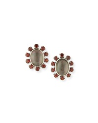 Gray Mother Of Pearl And Red Garnet Clip Earrings Stephen Dweck