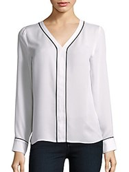 Laundry By Shelli Segal V Neck Long Sleeve Top Warm White