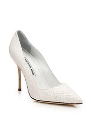 Manolo Blahnik Bb 105 Iridescent Snakeskin Pumps White