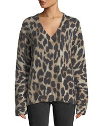 360 Sweater Geraldine V Neck Long Sleeve Leopard Intarsia Cashmere