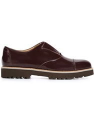 Hogan Ridged Rubber Sole Loafers Red