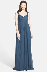 Amsale Women's Crinkled Silk Chiffon Gown French Blue