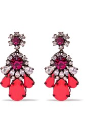 Shourouk Silver Plated Swarovski Crystal Earrings Pink