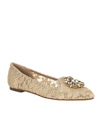 Dolce And Gabbana Vally Embellished Lace Slipper Female Beige