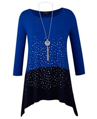 Grace Studded Tunic With Necklace Navy