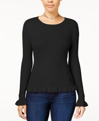 Hooked Up By Iot Juniors' Ruffle Hem Sweater Black