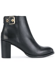Tommy Hilfiger Heeled Ankle Boots Cotton Calf Leather Rubber Black
