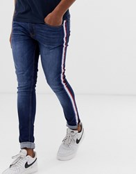 Ringspun Skinny Jeans With Striped Taping Black