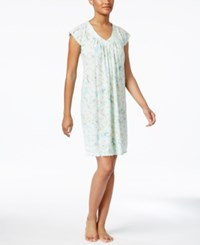 Miss Elaine Floral Print Knit Nightgown Turquoise Floral Scrolls