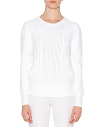 Callens Long Sleeve Cable Knit Sweater White