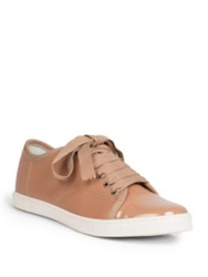 Lanvin Leather Ribbon Lace Up Low Top Sneakers Black Nude
