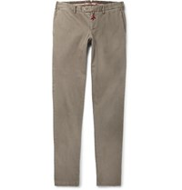 Isaia Slim Fit Stretch Cotton Gabardine Chinos Beige
