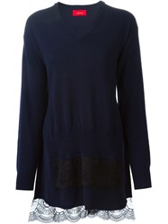 Undercover Lace Trim Sweater Blue