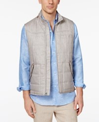 Tasso Elba Men's Tuscan Quilted Vest With Faux Suede Trim Only At Macy's Taupe