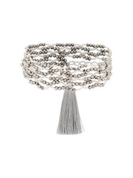 Night Market Beaded Double String Necklace Grey
