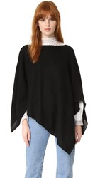 White Warren Cashmere Asymmetrical Poncho Black