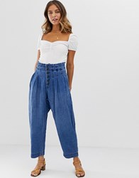 Free People Mover And Shaker Cotton Pants Blue