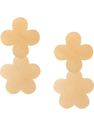 Annie Costello Brown Floral Shaped Drop Down Earrings Gold