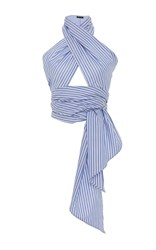 Mds Stripes Oxford Striped Everything Scarf Blue