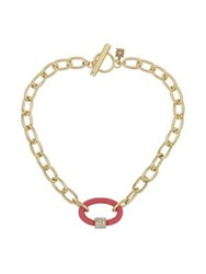 Laundry By Shelli Segal Wrapped Link Toggle Necklace Coral