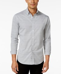 Vince Camuto Men's Horizontal Stripe Long Sleeve Shirt Grey Horiz