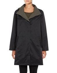 Eileen Fisher Petite Reversible Hooded Coat Black