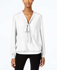 Ny Collection Tie Neck Faux Wrap Top Ivory