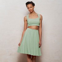 Wears London Grace Two Piece Bralet And Skater Skirt Set In Pastel Mint Green