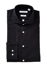 Isaac Mizrahi Black Oxford Long Sleeve Slim Fit Shirt