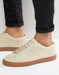 Selected Homme David Perforated Suede Trainers Sand Beige