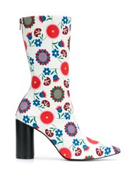 Reinaldo Lourenco Flower Print Boots Women Cotton 36 White