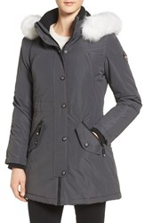 Halifax Women's Genuine Fox Fur Trim Parka Mech Grey