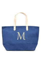 Cathy's Concepts 'Nantucket' Personalized Jute Tote Blue Blue M