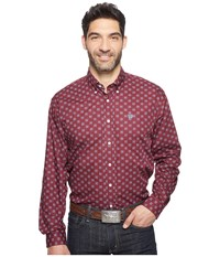 Cinch Long Sleeve Plain Weave Print Burgundy Men's Clothing