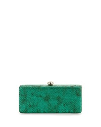 Neiman Marcus Snake Embossed Metallic Faux Leather Frame Clutch Emerald