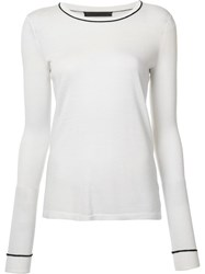 Jenni Kayne Contrast Neck Knitted T Shirt White