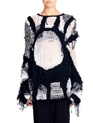 Ann Demeulemeester Open Hand Knit Sweater White Black