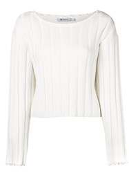 Alexander Wang T By Frayed Ribbed Sweater White