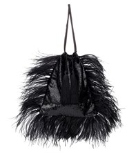 Attico Velvet Pouch With Feathers Black