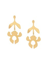 Lele Sadoughi Iris Stem Drop Earrings Gold