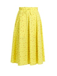 Bottega Veneta Butterfly Print Cotton And Linen Blend Skirt Yellow Print