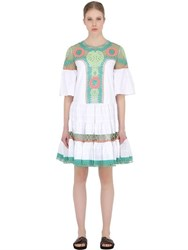 Temperley London Embroidered Cotton Poplin And Lace Dress