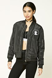 Forever 21 Cry Baby Patched Bomber Jacket Black White