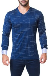 Maceoo Edison Trim Fit Dash T Shirt Blue