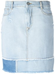 Vivienne Westwood Anglomania Frayed Straight Denim Skirt Blue