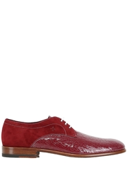 Fratelli Borgioli Two Tone Leather And Suede Lace Up Shoes Bordeaux White