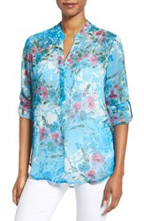 Kut From The Kloth Women's Anson Print Top Sky Blue