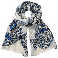 John Lewis Butterfly Print Scarf Blue Mix