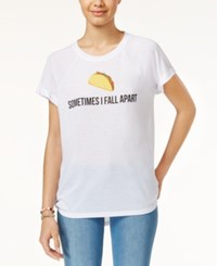 Freeze 24 7 Juniors' Taco Emoji High Low Graphic T Shirt White